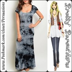 """NWT Black Tie Dyed Scoop Neck Maxi Dress NWT Tie Dyed Scoop Neck Maxi Dress  Available in sizes S, M, L Measurements taken from a size small  Length: 57"""" Bust: 38"""" Waist: 38"""" Measurements taken unstretched   Features  • all over tie dye • scooped neckline  • short sleeves • soft, breathable material  • has stretch  Color: Black Mist Combo Rayon, Spandex  Made in the USA  Bundle discounts available  No pp or trades   Item # 1o1-5•18-0480 Pretty Persuasions Dresses Maxi"""