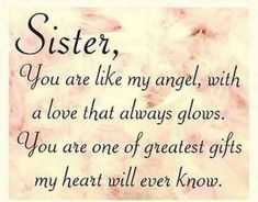 Sister love quotes funny sister quotes sayings love my sister quotes Message For Sister, Love My Sister, Best Sister, Sister Messages, Thanks Sister, Big Sis, Sweet Sister Quotes, Sister Poems, Thank You Sister Quotes