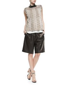 -5HV4 Brunello Cucinelli Perforated Flower Mink Fur Top, Layered Silk Crepe Tank, Choker & Elongated Pull-On Leather Shorts