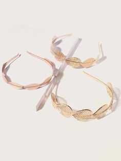 3pcs Metallic Leaf Decor Hair Hoop | SHEIN South Africa Gold Leaf Headband, Hair Hoops, Hair Accessories For Women, Scarf Hairstyles, Free Gifts, Gold Rings, Rose Gold, Jewelry, South Africa