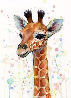Baby Giraffe Watercolor Art Print Nursery Art by OlechkaDesign
