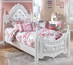 Exquisite Twin Poster Bed by Signature Design by Ashley Furniture #kidsfurniture #kidsbed