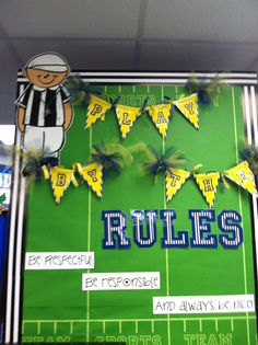 "I love this football themed classroom rules idea. ""Play by the Rules"" I think this would be used for a pre-school or kindergarten classroom. The rules are short, sweet, and to the point. Sports Bulletin Boards, Sports Theme Classroom, 4th Grade Classroom, Classroom Bulletin Boards, Classroom Rules, New Classroom, Classroom Setting, Classroom Design, Classroom Organization"