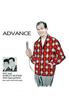 A Pat Boone sewing pattern? Yes please! 1950s Men's ROCKABILLY Shirt Jacket by DesignRewindFashions, $22.00