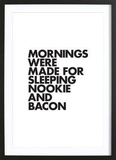 Sleeping Nookie Bacon als Gerahmtes Poster von WORDS BRAND™ | JUNIQE