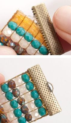 bead loom bracelets Learn to Finish Off Loom Beadwork with the Selvage Method: Glue the Clamp Ends to the Selvages Loom Bracelet Patterns, Seed Bead Patterns, Bead Loom Bracelets, Jewelry Patterns, Beading Patterns, Beading Ideas, Beading Supplies, Beaded Bracelets Tutorial, Bead Jewelry