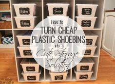 A quick and easy tutorial on how to turn clear plastic shoe bins into cute cheap storage solutions for all kinds of areas in your home. I used mine for craft room storage and craft room organization.
