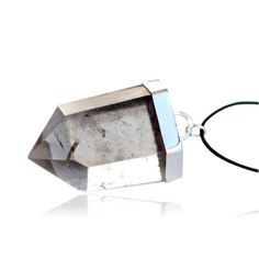 Beautiful Pyrite in Quartz Generator imbedded in 925 Sterling Silver. Pendant comes on a black, natural waxed-cotton cord necklace, adjustable 70cm.- Pendant48