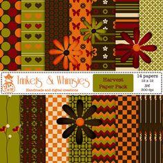 Harvest Digital Scrapbook Papers Instant Download by TnWScraps