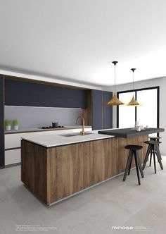 Minosa Design: Striking Kitchen Design with rich wood…