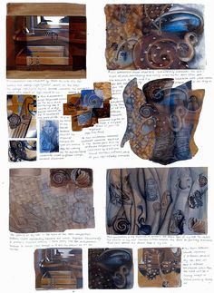 This page in Nikau's IGCSE Art portfolio begins the development of ideas towards her final piece. Working over grounds with sketches of possible compositions (inspired by Jason Hicks and Jim Dine) Nikau integrates scanned images of her earlier drawings and paintings in concepts for a final work.