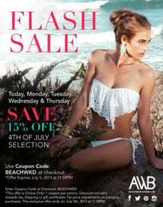 4th of July Sale @All Wet Beachwear 15% Off use coupon code: 4THJULY #sale #bikinis