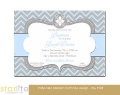 Boy Baptism Invitation Blue Gray Baptism Invitation by starwedd