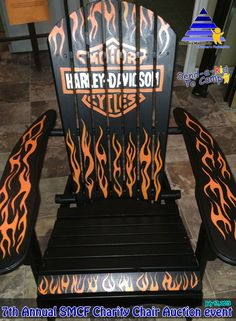 """Chair # 9 was painted by Ms. Chantal Gladu, a local volunteer artist. The theme for the chair is """"Freedom of Harley Davidson"""". The Online auction is up and running. Go to smcf2015.eflea.ca to place your bid. The Live Auction is Friday July 17, 2015 at VRAB Independent Grocers. The chairs will be on display from 3:00pm through to 6:30pm when the Live Auction starts. Food and refreshments will be available. We hope to see you there"""