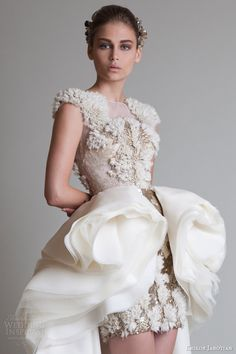 Krikor Jabotian 2014 couture cap sleeve dress overskirt close up