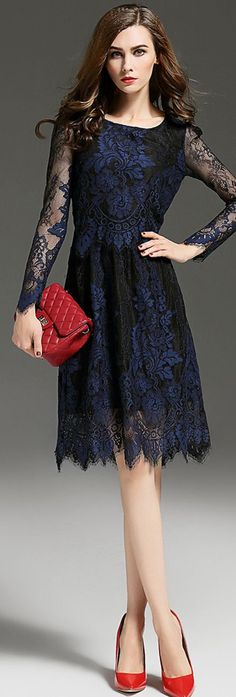 Dark Navy Sheer Sleeves Embroidered Lace Dress