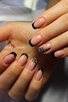 french nail designs, black nail designs, french tip Manicure Nail Designs, French Manicure Nails, French Tip Nails, Black French Nails, Nails Design, Square Nail Designs, French Nail Designs, Nail Art Designs, Black Nails