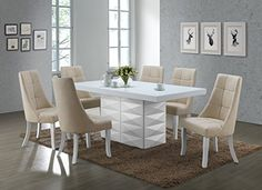 7 Piece White Wood Modern Rectangle Dinette Dining Room Table & 6 Beige Vinyl Chairs Set Source by Shabby Chic Dining Room, Dining Room Bar, Dining Chair Set, Living Room Chairs, Dinning Table, Dining Rooms, Diy Home, Home Decor, 7 Piece Dining Set