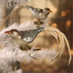 """Vintage Style Glass Bird Clips featured online on RealSimple.com """"Festive Christmas Tree Decorating Ideas"""""""