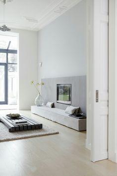 Modern zen living room, fireplace