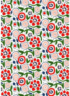 Katinala fabric is designed by Jenni Tuominen for Marimekko. Textile Prints, Textile Patterns, Textile Design, Fabric Design, Surface Design, Motif Floral, Art Graphique, Pretty Patterns, Pattern Illustration