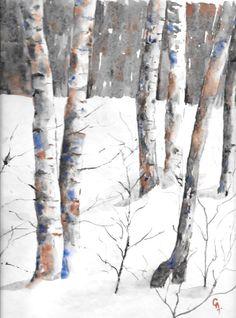 aqua-bouleaux-russie.jpg (Peinture), 40x30 cm par Chantal Aviles Bouleaux dans la neige. Russie D'après une photo de PYM