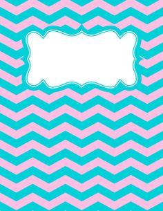 Free printable pink and blue chevron binder cover template. Download the cover in JPG or PDF format at http://bindercovers.net/download/pink-and-blue-chevron-binder-cover/