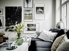 living room with beautiful gallery wall