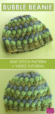 Learn how to Knit this super cute Bubble Stitch Beanie Hat with free Knitting Pattern and video tutorial by Studio Knit. via @StudioKnit
