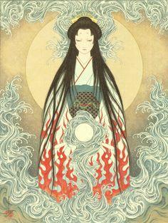 """Takato Yamamoto (山本タカト)   """"Princess Shirayuki at Yashagaike (Demon Pond) II"""" My scans. 「夜叉ヶ池の白雪姫II」 Postcard prints available from Aka Tako."""