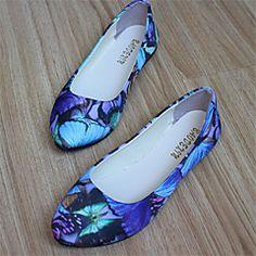 Chaussures Femme - Décontracté - Noir / Bleu / Rouge - Talon Plat - Bout Arrondi - Plates - Similicuir