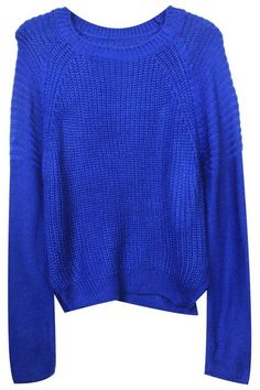 dc9acc9a Blue sweater - Style with a garment Ladies velseitige combinations Split  Hem Wave Knitted Blue Jumper
