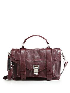 Proenza Schouler PS1 Tiny Leather Satchel in smoke