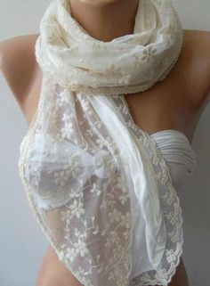 Creamy White / Lace and Elegance Shawl..$25.00