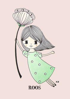 zwevendmeisjeroze Cute Doodle Art, Doodle Girl, Cute Art, Painting Of Girl, Painting & Drawing, Doodle Drawings, Cute Drawings, Disney Drawings, Cartoon Drawings