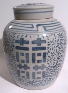 asian Chinese DOUBLE HAPPINESS RING WEDDING GINGER JAR Blue & White oriental