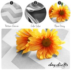 Chevron with silver satin linens and golden daisies for your Chic wedding! www.cheychicwedddings.com