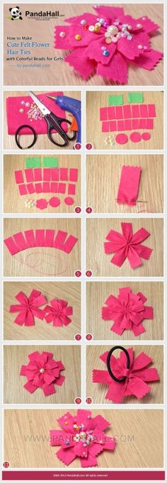 How to Make Cute Felt Flower Hair Ties with ... | Jewelry Making Tuto�� by wanting