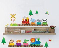 Woodland Animal Zug Wandaufkleber Kinderzimmer Wandtattoo Art Decor Schöne Baby Tier Kinder Schlafzimmer Spielzimmer Wall Decor Abnehmbare Peel & Stick