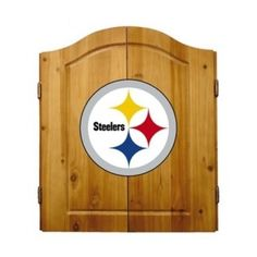 This NFL Pittsburgh Steelers Wooden Dartboard Cabinet Set is made of solid  pine and makes a great gift for the sports fan in your life. This  officially licensed dartboard comes with mounting hardware and six team  logo darts.   Great gift for sports fan Perfect for man cave or garage Made by Imperial International Solid pine wood dartboard cabinet All natural 18-inch bristle dart board Mounting instructions and hardware included Six steel darts with team logo on flights Includes chalk and…