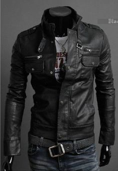 Cool men's leather jacket