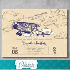 Vintage Airplane Baby Shower Invitation - Navy Blue - Retro - Baby Boy Shower - Birthday - Printable - Customizable - Digital - DIY - Invite