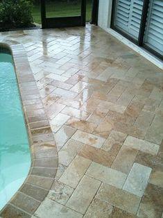 Travertine Herringbone 6×12 Paver Pool Deck. (New Tampa, Florida)
