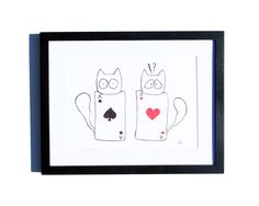 Fineliner – Drawing handmade 20x30cm: Cats aces – a unique product by ARTandCAT on DaWanda