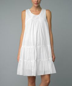Loving this White Ruffle Shift Dress on #zulily! #zulilyfinds