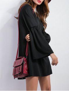 V Neck Bell Sleeve Shift Mini Dress - BLACK S
