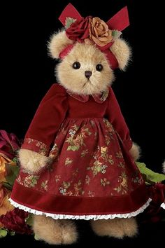 "Tristen - 14"" Burgundy Floral Fall 2010 Teddy Bear by Bearington"