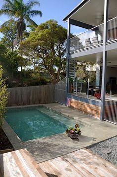 7Hills House, Brisbane | Pool + Decks Backyard Renovations, Pool Waterfall, House On A Hill, Pool Decks, Brisbane, Pools, Outdoor Decor, Home Decor, Decoration Home