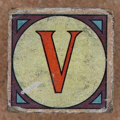 Vintage brick letter V by Leo Reynolds, via Flickr
