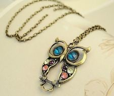 Unique Jewelry - 1pc New Fashion Vintage Charm Chain Crystal Owl Pendant Long Necklace Jewelry